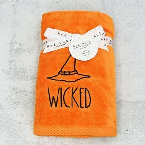 Rae Dunn Halloween Set of 2 Orange Hand Towels Embroidered WICKED Witch Hat